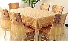 Tischtuch Tischdecke Lace Esstisch Tuch Stuhl Set Kissen Stuhl Set, Continental Stoff Pastoral Tee Tischdecke Rechteck Tischdecke Stuhl Set Tischsets ( Farbe : B , größe : 130*180cm )