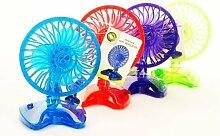 Tischventilator 2 Stück Farbmix Ventilator verschiedene Farben ca. 20 cm hoch batteriebetrieben Kühler Raum-Lüfter Luft-Erfrischer Lüftung