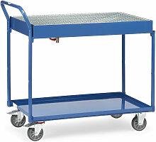 Tischwagen mit Blechwannen und Gitterrost 2 Etagen