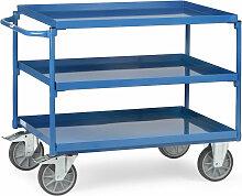 Tischwagen mit Stahlblechwannen 3 Etagen 850x500mm