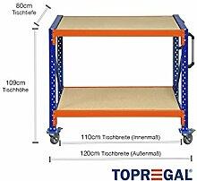 Tischwagen, Werkbank fahrbar mit Holzboden verschiedene Breiten/Höhen/Tiefen/Ebenen (120/109/80cm (B/H/T), 2 Ebenen)