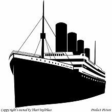 Titanic (58 cm x 65 cm), Farbe: schwarz, Badezimmer Childs Schlafzimmer Kinder Zimmer Aufkleber, Vinyl, Fenster und Wand Aufkleber, Wand Windows-Art Wandaufkleber aus Vinyl, Dekoration ThatVinylPlace Aufkleber,