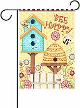 TIZORAX Bee Happy House Blumen Garten Flagge
