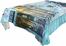 TIZORAX Blaue Weihnachtstischdecke aus Polyester,
