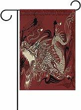 TIZORAX Dragon Doodle Sketch Garten Flagge doppelt