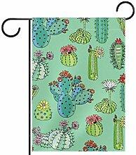 TIZORAX Garten-Flagge, Kaktus mit Blumen-Muster,