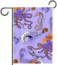 Tizorax Garten-Flagge, Krabbe, Seepferd, Oktopus,