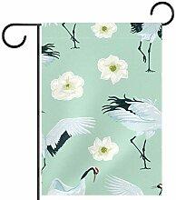 TIZORAX Garten-Flagge, Kräne und weiße Blumen,