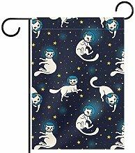TIZORAX Garten-Flagge, Motiv: Katze mit Sternen,