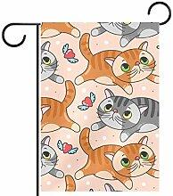 TIZORAX Garten-Flagge, Motiv: Katzen mit rotem