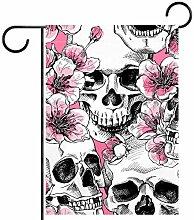 Tizorax Garten-Flagge, Motiv: Totenköpfe mit