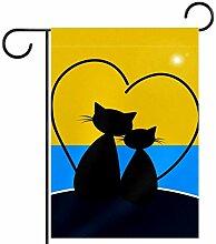 TIZORAX Garten-Flagge, zwei schwarze Katzen in
