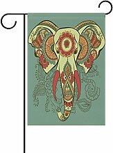 TIZORAX Henna Indischer Elefant Garten Flagge