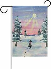 TIZORAX Hund mit Flagge der Sonne, Garten, mit