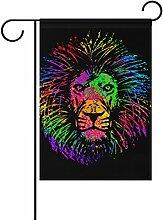 TIZORAX Isolierte Lion Head Garten Flagge Double