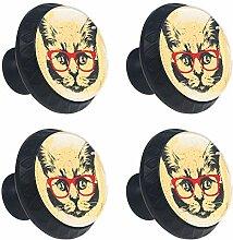 TIZORAX Katze Mit Roten Gläsern Schubladenknöpfe