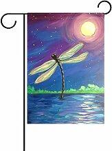 TIZORAX Moonlight Libelle Garten Flagge doppelt so