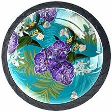 TIZORAX Schubladenknöpfe, lila Orchideen, rund,
