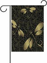 TIZORAX schwarz gold Vintage Libelle Garten Flagge