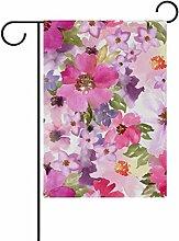 TIZORAX Seamless Floral Print Flagge double-sized