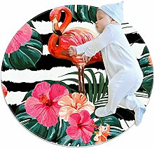 TIZORAX Teppich Flanmingo mit tropischen Blättern