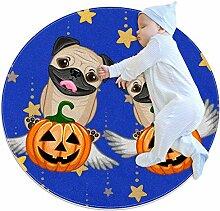 TIZORAX Teppich für Halloween-Hunde mit Kürbiss,