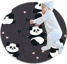 TIZORAX Teppich mit Panda-Herzen und Pflanzen,