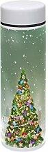 TIZORAX Thermosflasche mit Weihnachtsbaum im Mond,