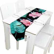 TIZORAX Vintage Tischläufer mit tropischen