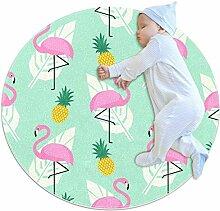 TIZORAX zotteliger Teppich, Flamingo mit Ananas,
