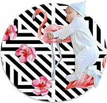 TIZORAX zotteliger Teppich, Flamingo mit Blume,