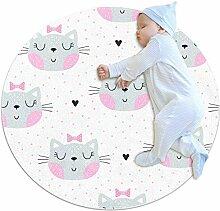 TIZORAX zotteliger Teppich, Katzen mit rosa