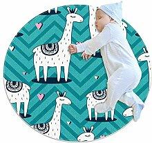 TIZORAX zotteliger Teppich Llama mit Liebe rund