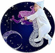 TIZORAX Zotteliger Teppich Meerjungfrau mit Mond