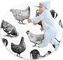 TIZORAX zotteliger Teppich mit Hühnermuster,