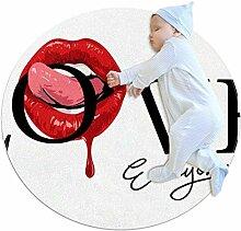 TIZORAX zotteliger Teppich mit roter Lippe, rund,