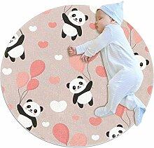 TIZORAX zotteliger Teppich, Panda mit Ballon,