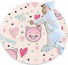 TIZORAX zotteliger Teppich Schwein mit Herz auf