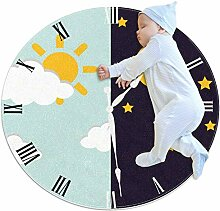 TIZORAX Zotteliger Teppich, Uhr mit Tag Sonne und