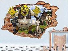 TJJS Wandtattoos Wandaufkleber Monster Shrek 3D