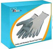 TK9K ®, Sicherheit und Workwear Handschuhe aus Nitril Handschuhe, One Size, nylon, Schaumstoff, 13 gauge, Nitril beschichtete nahtlose nylon gestrickt glove. offene Rückseite hält Hände warm Umwelt. hervorragende Griffigkeit und Robustheit und Chemikalienbeständigkeit.