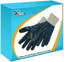 TK9K - Sicherheit und volle Workwear Handschuhe Hundemantel Interlock Nitril Handschuhe Einheitsgröße unterstützte Nitril Handschuh und liner mit Interlock Strick. Vollständig beschichtete zum Schutz. Robuste, flexibel mit exzellenter Grip.