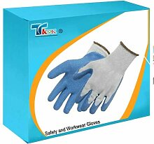 TK9K® - Safety and Workwear Gloves Latex Builders Gloves One Size Polycotton glove coated with hard wearing latex suitable for building and construction work, concrete and brick handling. Latex coating offers excellent grip. Intermediate design. by SILVERL