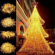 TKOOFN® LED Lichterkette Weihnachtsbeleuchtung Weihnachten Garten Party Dekoration Lichterkette Leuchte LED Strip mit EU Stecker für Innen und Außen - transparent (Warmweiß, 30m 300 LEDs)
