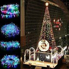 TKOOFN® LED Lichterkette Weihnachtsbeleuchtung Weihnachten Garten Party Dekoration Lichterkette Leuchte LED Strip mit EU Stecker für Innen und Außen - transparent (Bunt, 20m 200 LEDs)