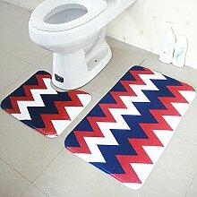 Tkopainsde 2 Tlg Badezimmer Set Mode Wc Deckt Rutschfeste Dusche Badematte Teppich Teppich, Ein