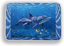 Tkopainsde 3D Cartoon Dolphin Rutschfeste Dusche