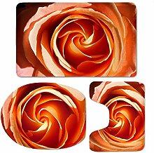 Tkopainsde Florale Matten 3 Stk Wc Badezimmer Set
