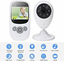 TKSTAR Baby Monitor Babyphone Video mit kamera,Wireless 2,4 GHz Audio Baby Monitor Babyphone mit Nachtsicht 2-Wege-Talk Temperaturerkennung TB880 Weiß