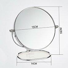 TLMY Desktop-Schminkspiegel super klar doppelseitig Schminkspiegel Prinzessin Spiegel europäischen tragbaren rotierenden Klappspiegel Spiegel (größe : 6 inches)